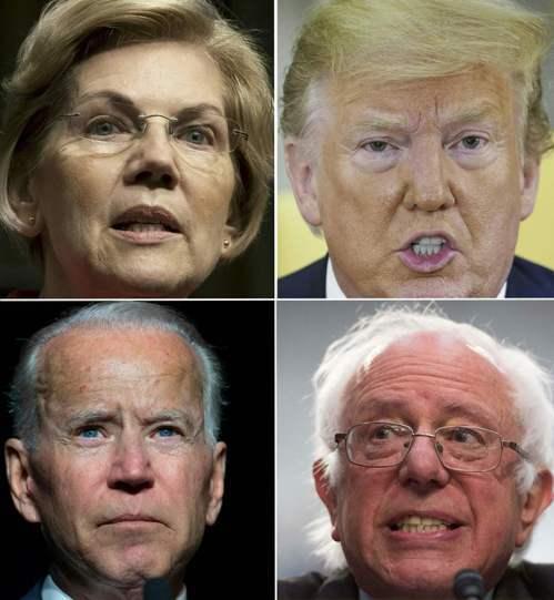美國總統大選上演罕見的銀髮族爭奪戰;圖為兩黨總統參選人,右上起順時針方向依序是川...