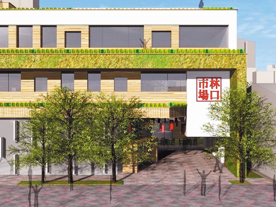 林口市場自2018年7月開始改建,新大樓將打造為綠建築,預計明年完工。 圖/新北...