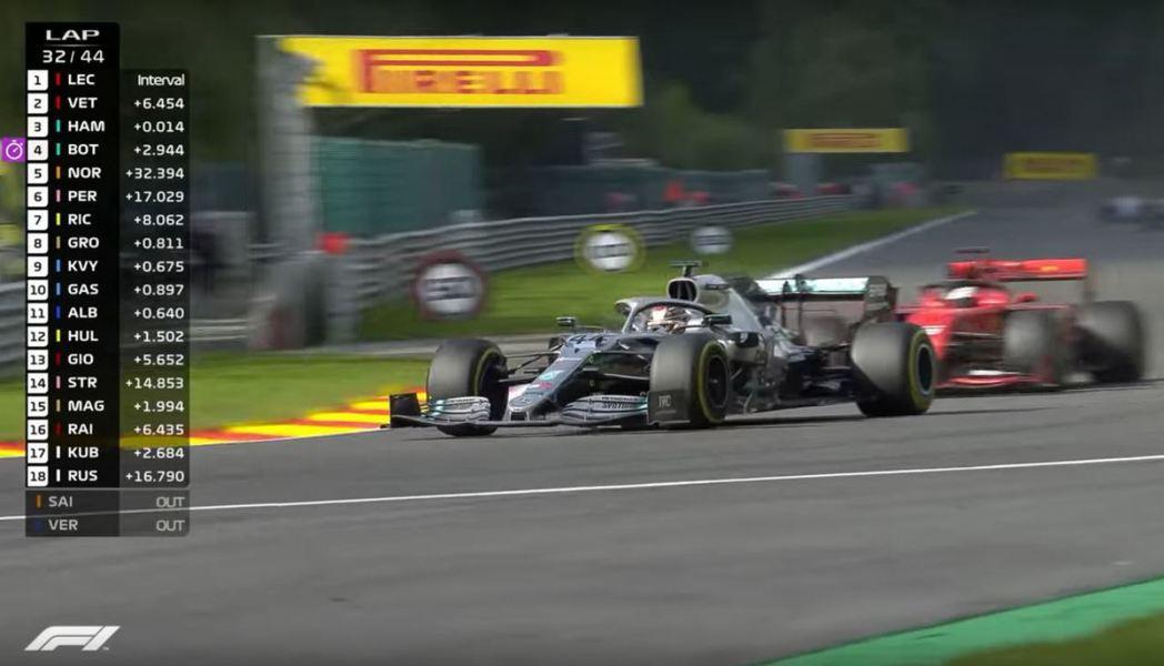 Hamilton的狀況相當出色,在32圈時便超越了Vettel。 摘自F1