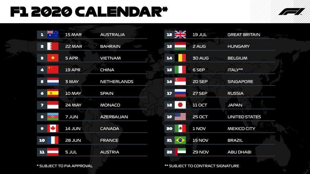 2020年F1賽程表。 摘自F1