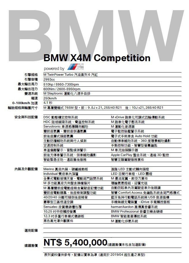 BMW X4 M Competition規配表。