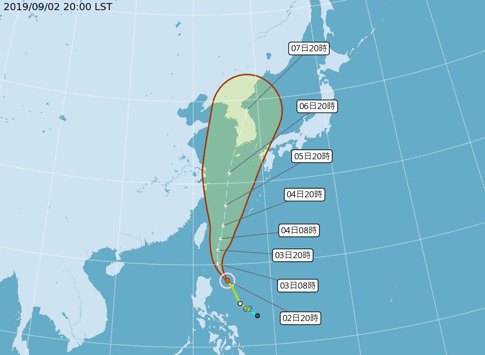 輕颱玲玲今晚開始為東半部地區及南部山區帶來雨勢。 圖/取自中央氣象局網站