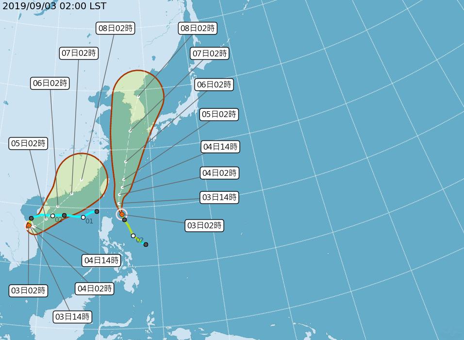 台灣附近有兩個颱風生成,今天起就會受到玲玲颱風外圍環流影響。圖/中央氣象局提供