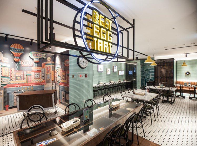 泰昌餅家統一時代店設置香港復古街道的拍照打卡牆。圖/泰昌餅家