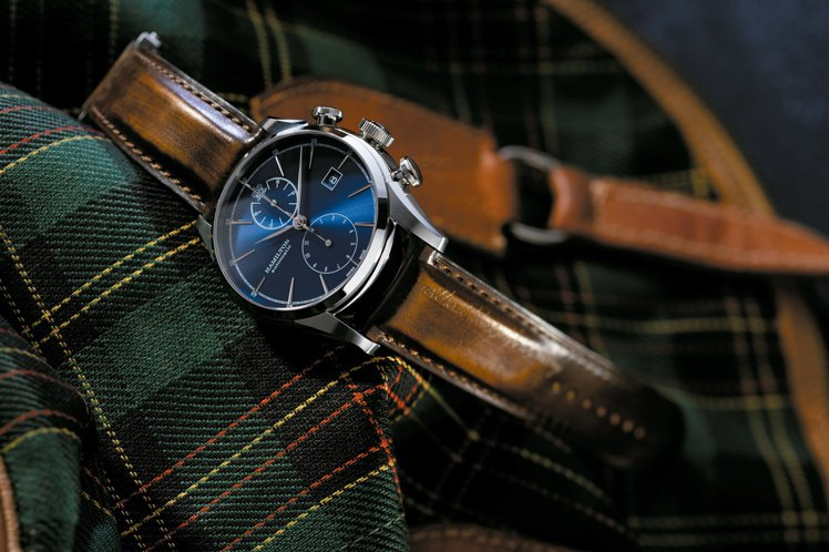 漢米爾頓自由精神自動計時碼表,不鏽鋼表殼,60小時動力儲存,約56,700元。圖...