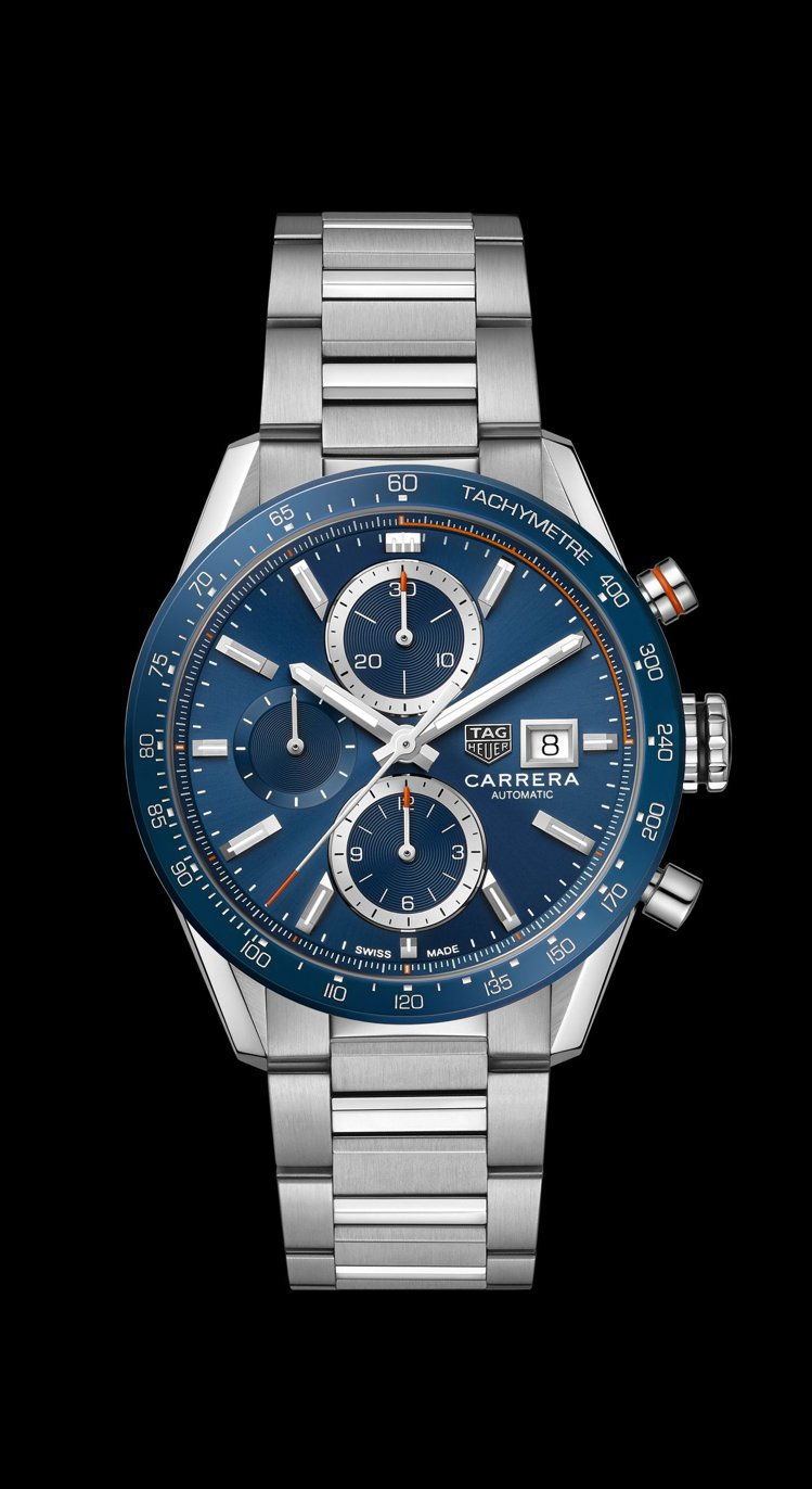 泰格豪雅Carrera系列Calibre 16計時碼表,不鏽鋼表殼、表鍊搭配藍色...