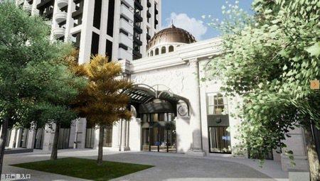 「築禾交響院」打造出獨一無二氣派非凡的崗石門廳入口。(3D示意圖) 圖/築禾交響...