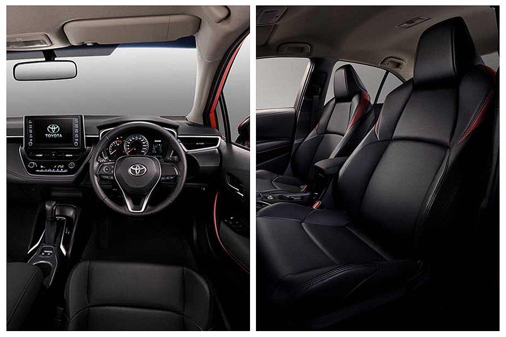 內裝換上專屬皮革運動座椅,再以紅色皮革與車門紅色飾板點綴。 圖/Toyota提供