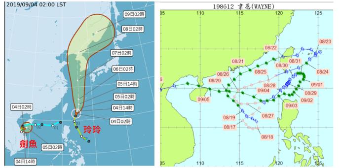玲玲颱風從台灣東方海面北上,大約通過宮古島附近。劍魚颱風已減弱為熱帶低壓(圖左)...