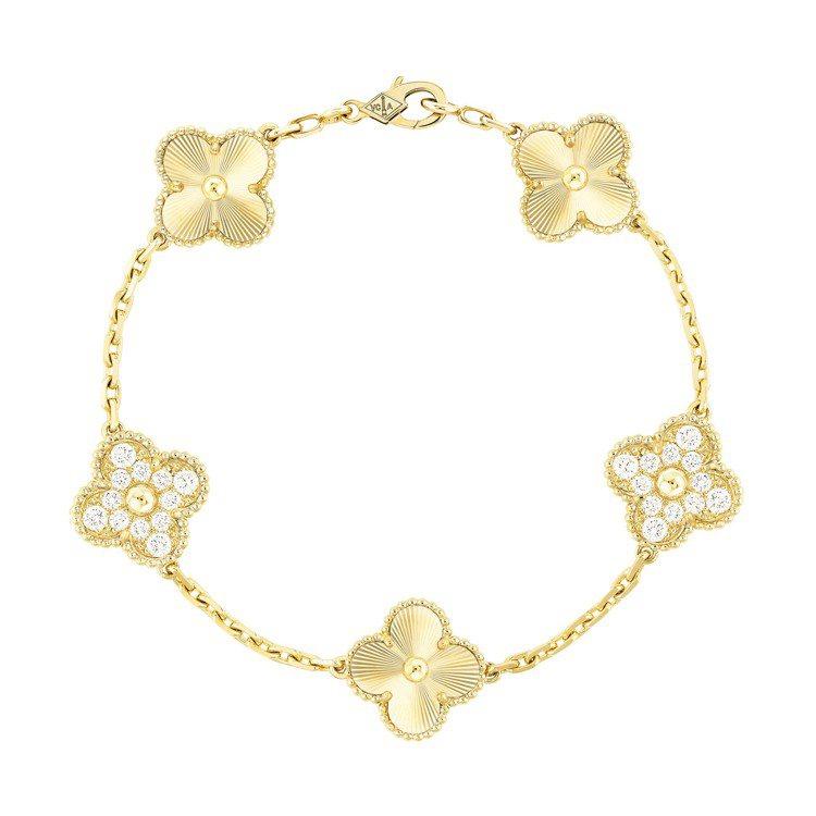 梵克雅寶Vintage Alhambra手鍊,5枚璣鏤雕花黃K金與鑲鑽幸運四葉圖...