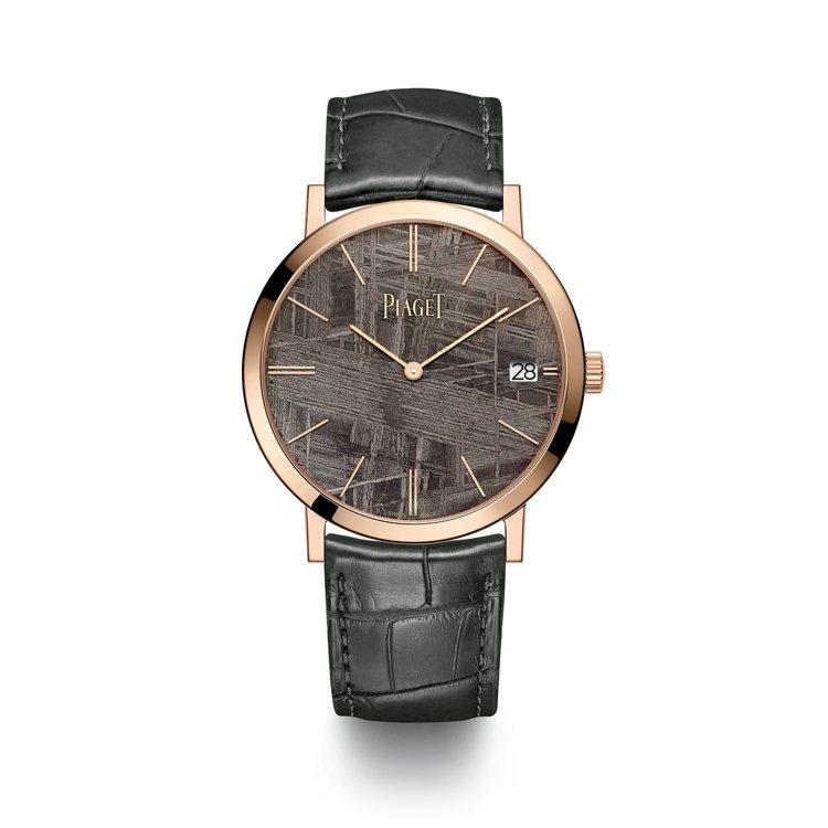 PIAGET Altiplano墨褐色隕石面盤18K玫瑰金自動上鍊超薄腕表,87...