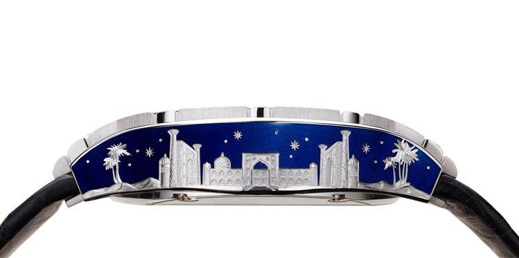 PIAGET Polo系列相對陀飛輪頂級珠寶琺瑯彩繪工藝腕表,表殼側身裝飾金雕薩...