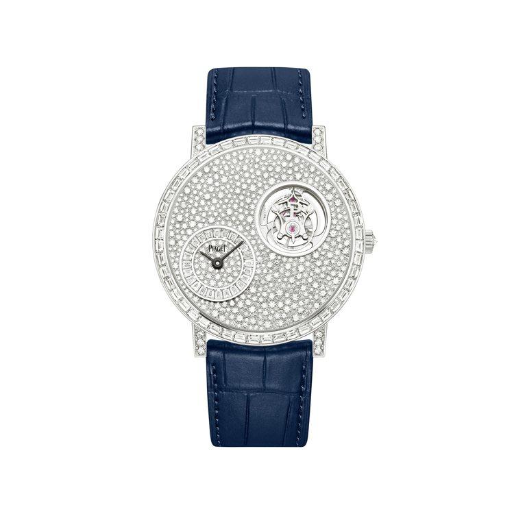 PIAGET Altiplano 手動上鍊飛行陀飛輪頂級珠寶鑽石腕表,785萬元...