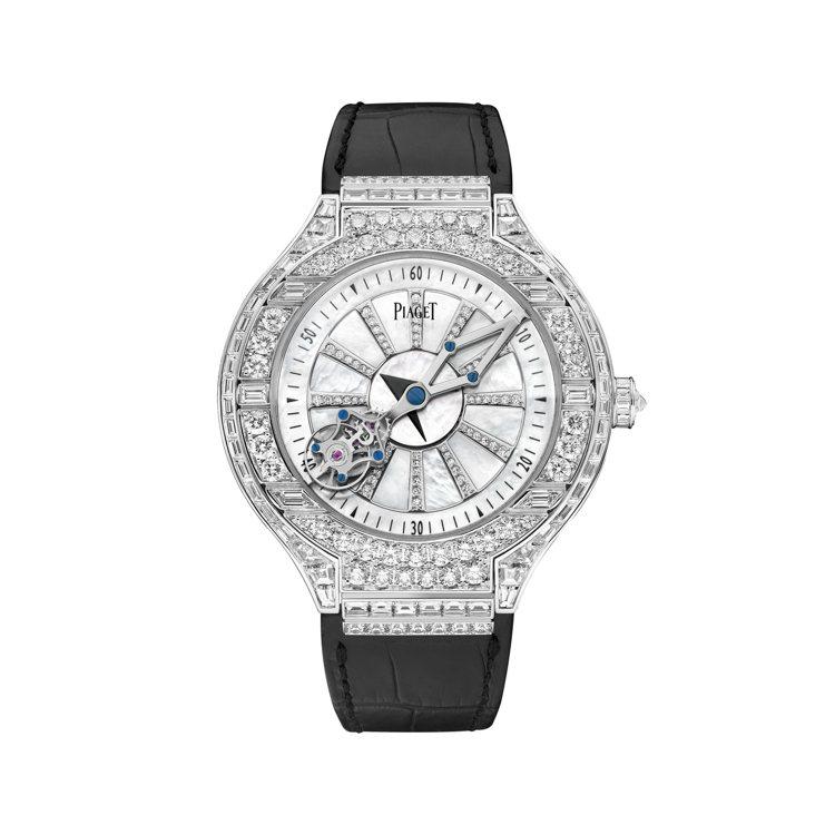 PIAGET Polo系列相對陀飛輪頂級珠寶鑽石腕表,2,690萬元。圖/伯爵提...