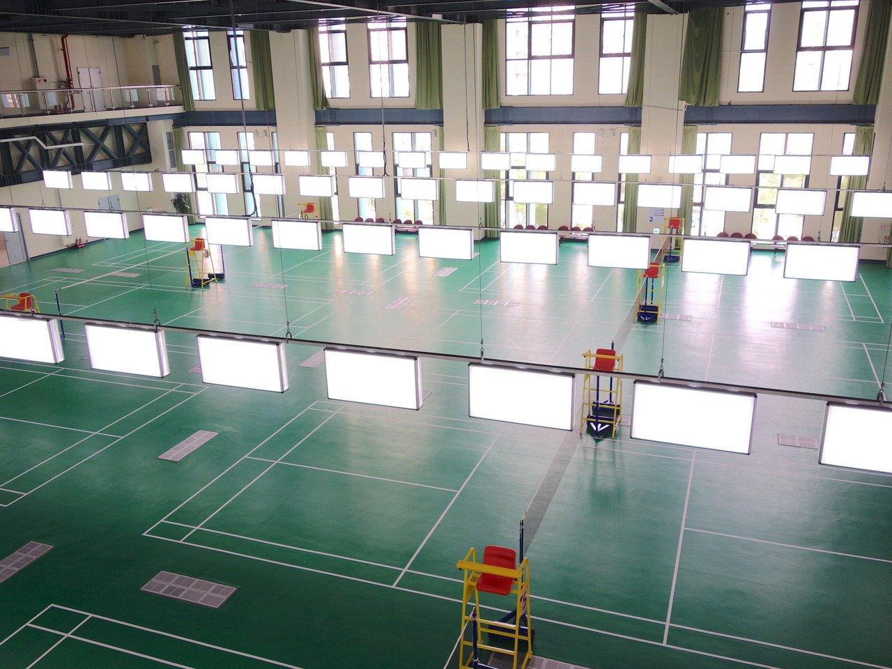 二樓設有八面羽球場,採挑高設計。記者郭政芬/攝影