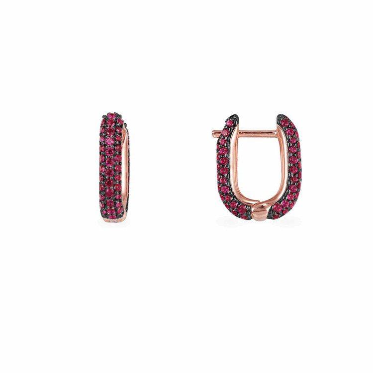 Rock系列單只粉金色純銀酒紅色長方形小耳環,3,900元。圖/AMP MONA...