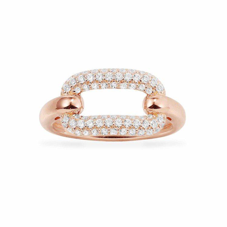 Rock系列粉金色純銀白色環扣戒指,3,500元。圖/AMP MONACO提供
