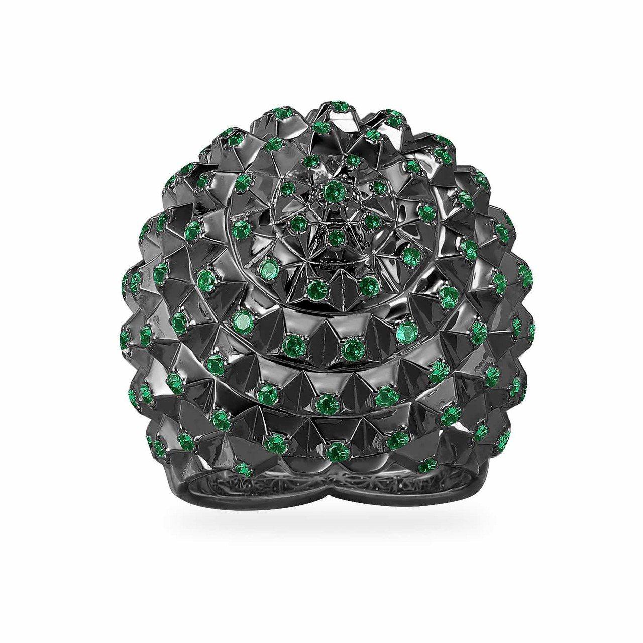 Herisson系列黑色純銀齒狀球型戒指,6,900元。圖/AMP MONACO...