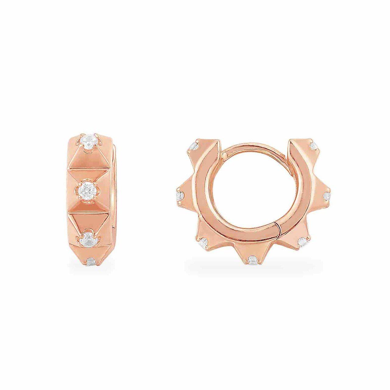 Herisson系列粉金色純銀粉&白色齒狀小耳環,2,400元。圖/AMP MO...