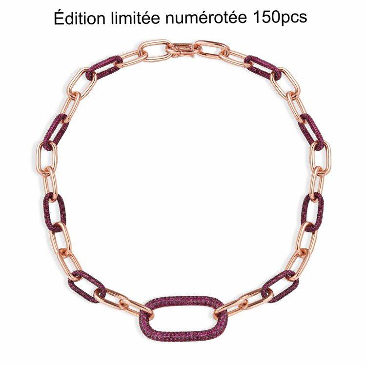 Rock系列粉金色純銀酒紅色&粉色環扣項鍊,43,200元。圖/AMP MONA...