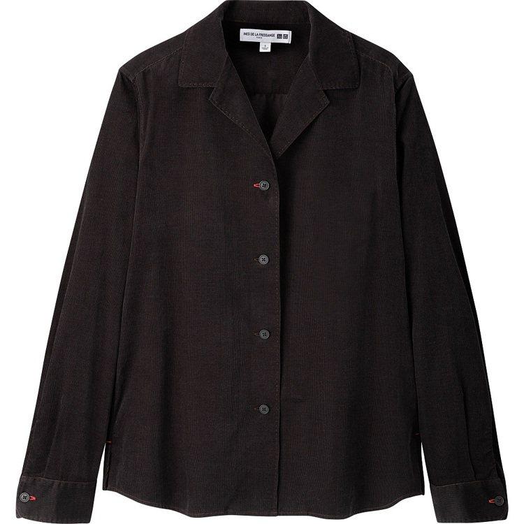 女裝 IDLF燈芯絨開領上衣(長袖),售價990元。圖/UNIQLO提供