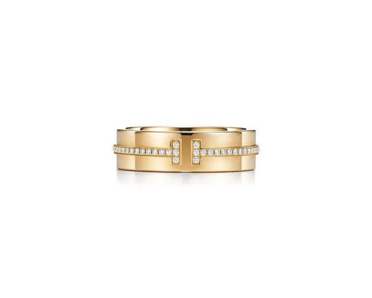 Tiffany T Two 18K金鑲鑽戒指 ,約10萬4,000元。圖/Tif...
