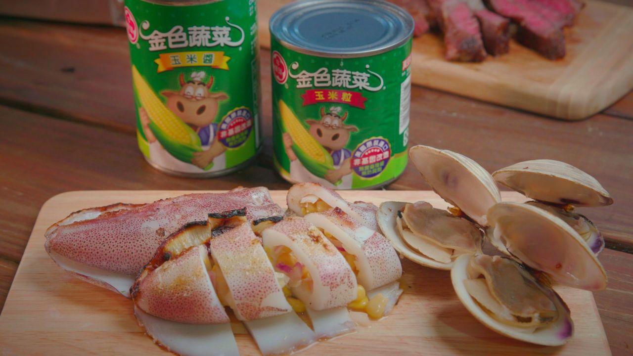 「玉米軟絲卷」加入美味玉米粒調味,口感讓人驚艷。圖/噓星聞提供