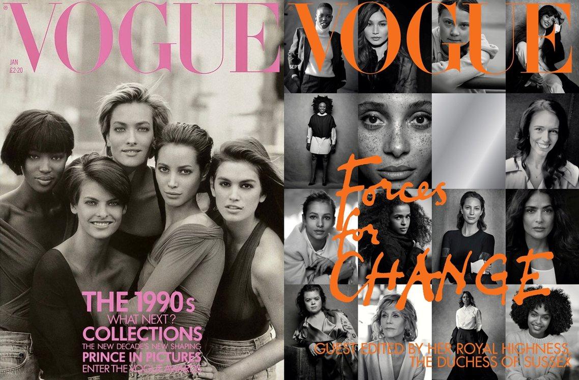 1990年林堡為英國版《Vogue》1月刊所拍攝的一組照片,集結了辛蒂克勞馥、娜...
