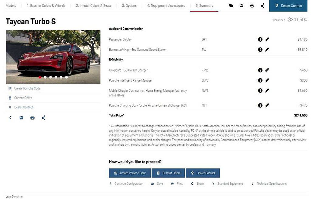保時捷還有驚人選配項目,若全數加選則會讓Taycan Turbo S的售價突破2...