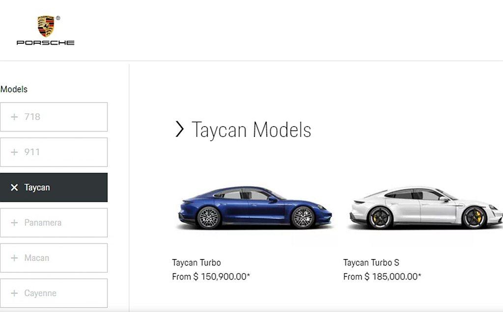 保時捷Taycan在美國市場,基礎款Taycan Turbo要價150,900美...