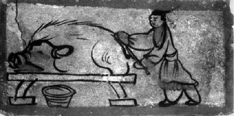 嘉峪關魏晉墓磚畫《屠豬圖》。 圖/來源