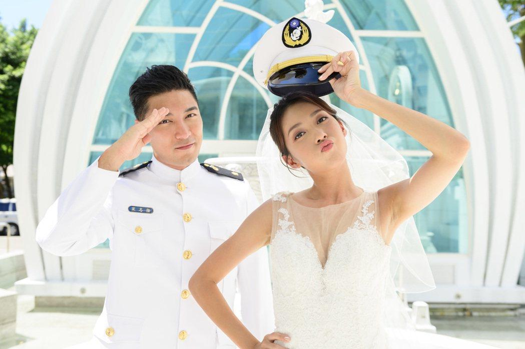 羅平(左)、楊晴上演婚禮戲。圖/TVBS提供