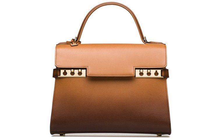 Tempête茶色漸層牛皮中型肩背手提包,售價19萬9,600元。圖/DELV...