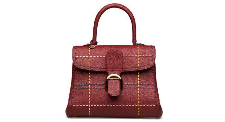 Brillant勃根地酒紅Tartan蘇格蘭紋中型牛皮肩背手提包 ,售價21萬8...