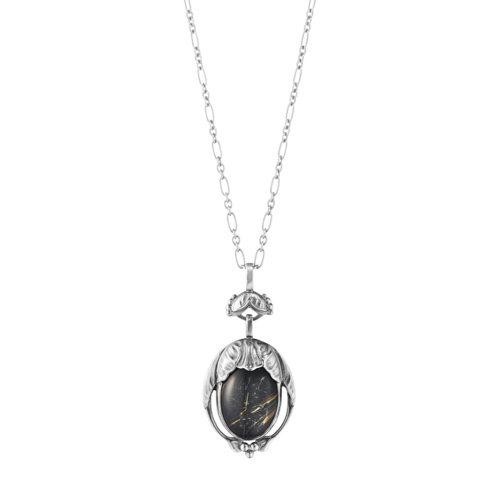 GEORG JENSEN限量系列編號54純銀三層石(黑瑪瑙、髮晶、透明水晶)鍊墜...