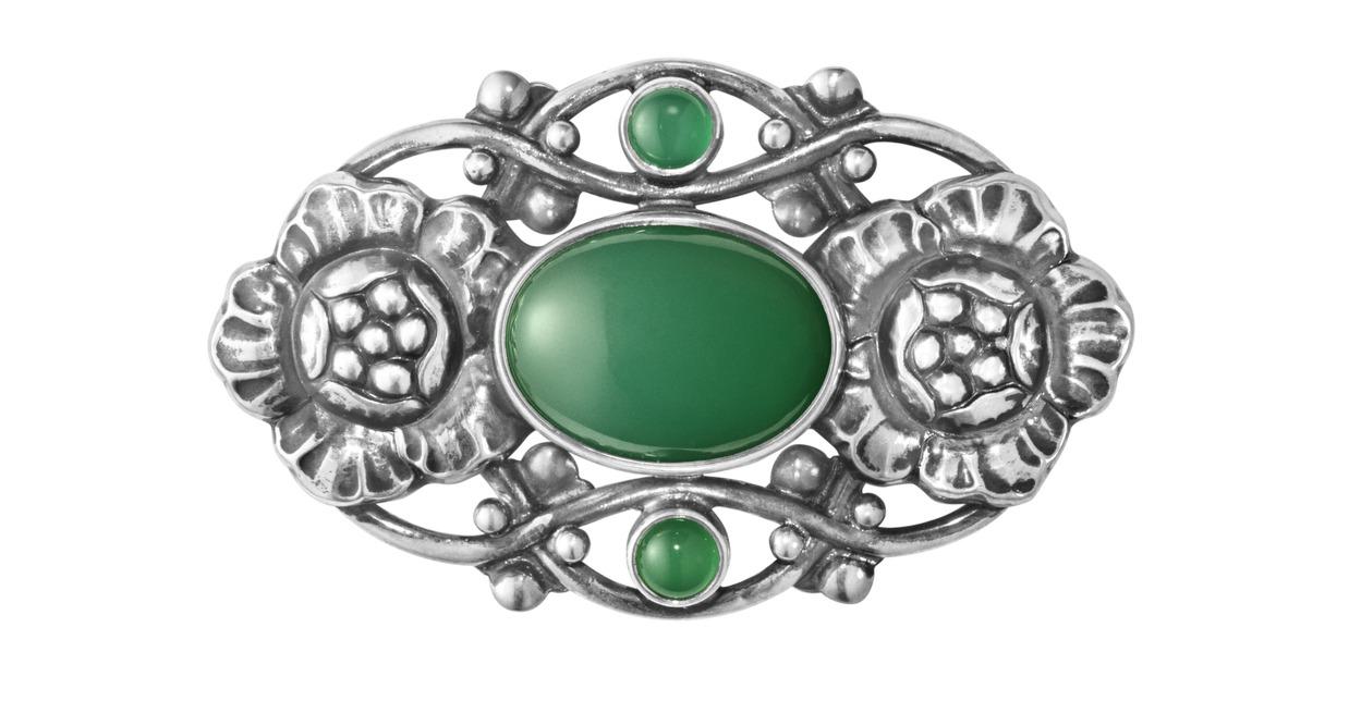 GEORG JENSEN限量系列編號89純銀綠瑪瑙胸針,14,000元。圖/喬治...