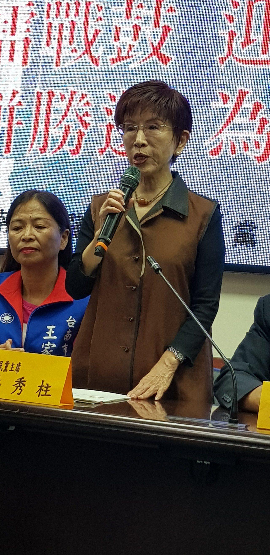 國民黨前主席洪秀柱上午到台南市議會與議會黨團一起召開記者會。記者修瑞瑩/攝影