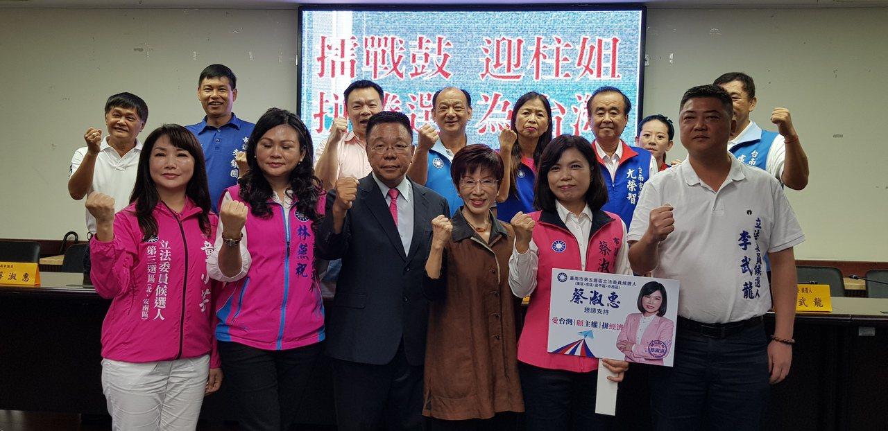 國民黨前主席洪秀柱(前排右三)上午到台南市議會與議會黨團一起召開記者會。記者修瑞...