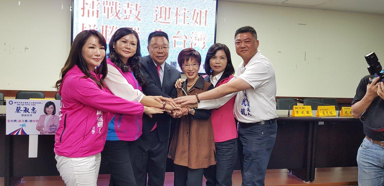 國民黨前主席洪秀柱(右三)上午到台南市議會與議會黨團一起召開記者會。記者修瑞瑩/...