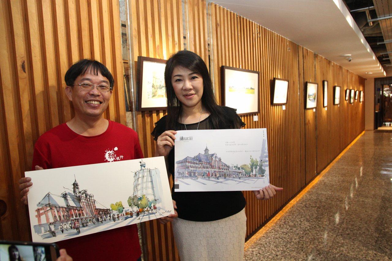 街頭速寫藝術家朱啟助最近完成「畫家帶路,台中舊城街道散步」一書,1969藍天飯店...