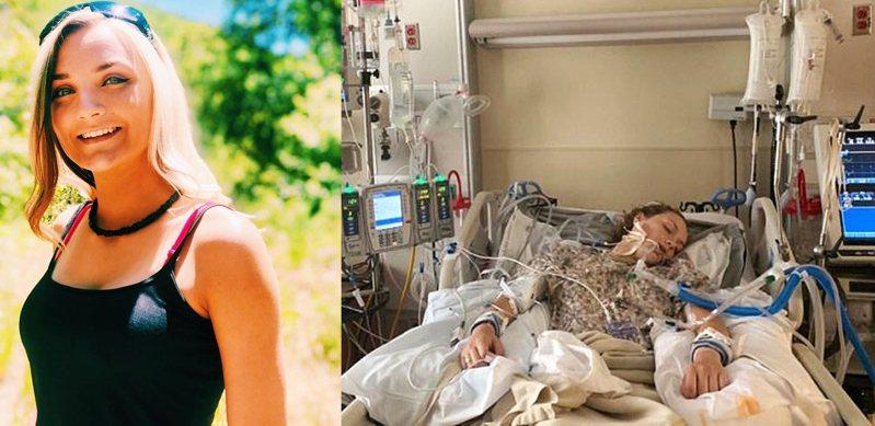 美國猶他州18歲少女尼爾森生病前以及在病榻上的照片。圖/董氏基金會提供