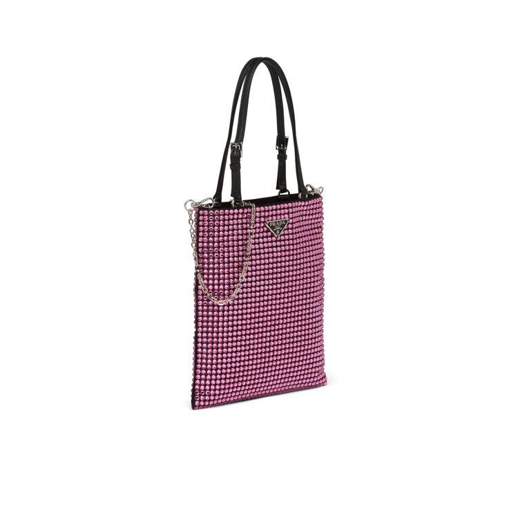 漢神店獨家粉色綴飾手提鍊帶包,58,500元。圖/PRADA提供