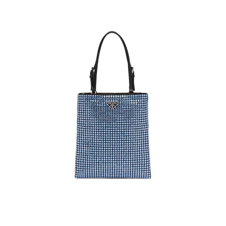 漢神店獨家藍色綴飾手提鍊帶包,58,500元。圖/PRADA提供