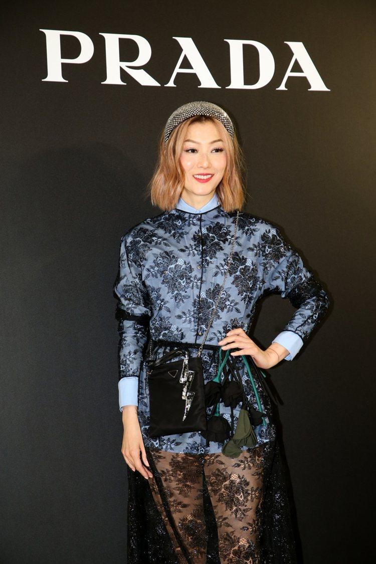 鄭秀文出席PRADA高雄漢神店開幕活動。記者吳致碩/攝影