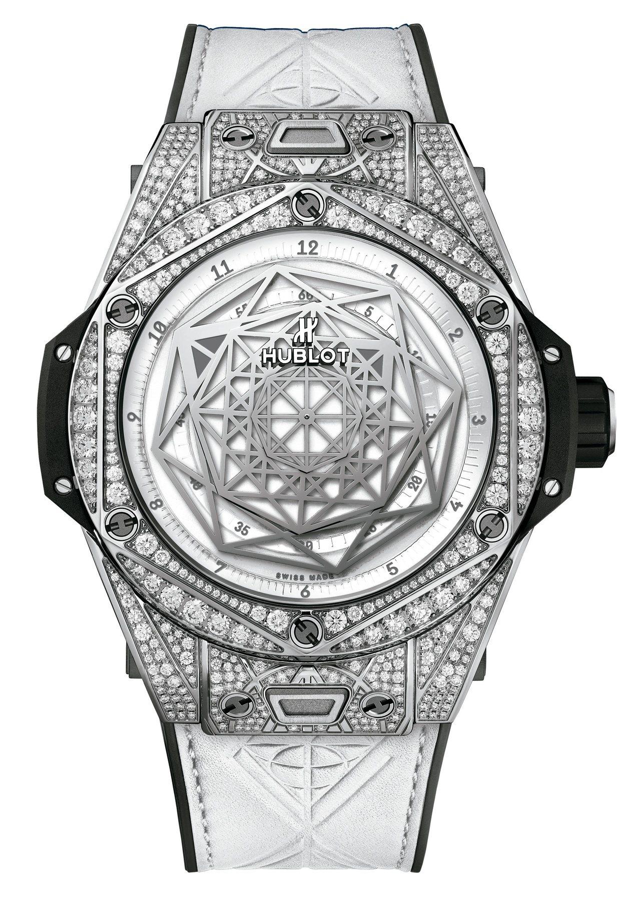 Hublot BIG BANG UNICO SANG BLEU 白色滿鑽腕表,售...