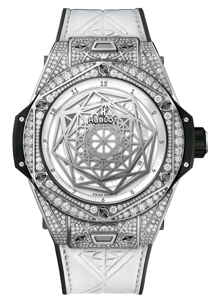 Hublot BIG BANG UNICO SANG BLEU 白色滿鑽腕表,售...