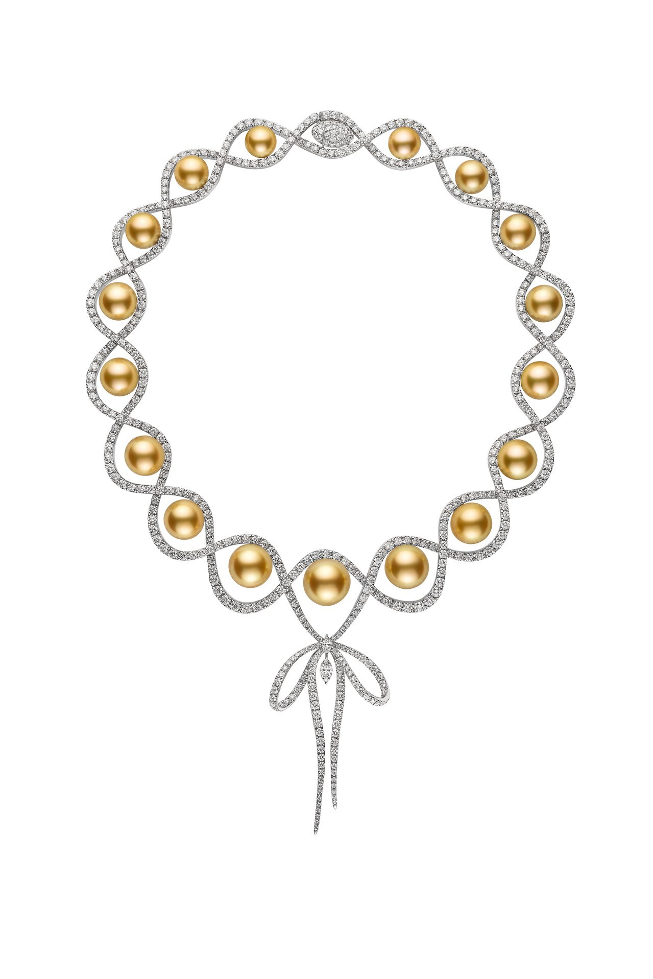 MIKIMOTO Jeux de Rubans 頂級珠寶系列,南洋黃金珍珠鑽石蝴...