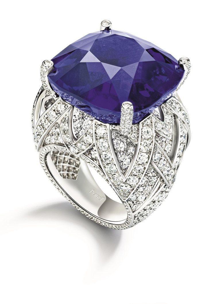 PIAGET Sunlight Journey頂級珠寶系列緬甸藍寶石戒指,售價2...