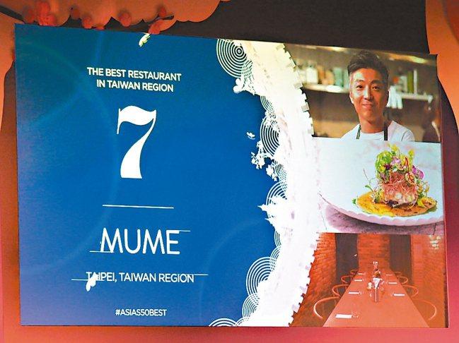2019亞洲50最佳餐廳,台灣MUME從去年的18名上升到今年第7名。 圖/Pe...