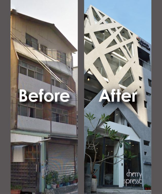 「外牆彩妝師」以完善外牆翻新系統工法,提高建築物價值,圖為台中市某知名商旅採用後...